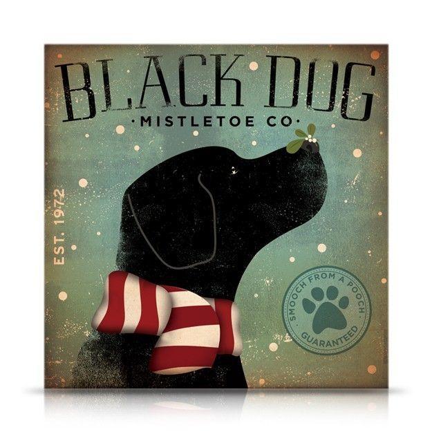 Black Dog Mistletoe Company original graphic illustration 18 x 18 on canvas winter holiday art by gemini studio