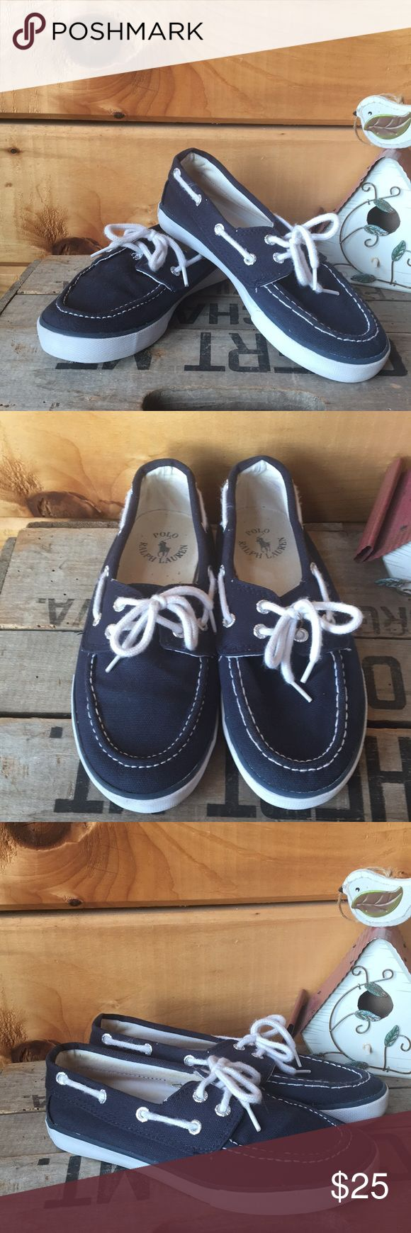 KIDS Polo Ralph Lauren shoes Navy lace up boat shoes in great used condition. Polo by Ralph Lauren Shoes Sneakers