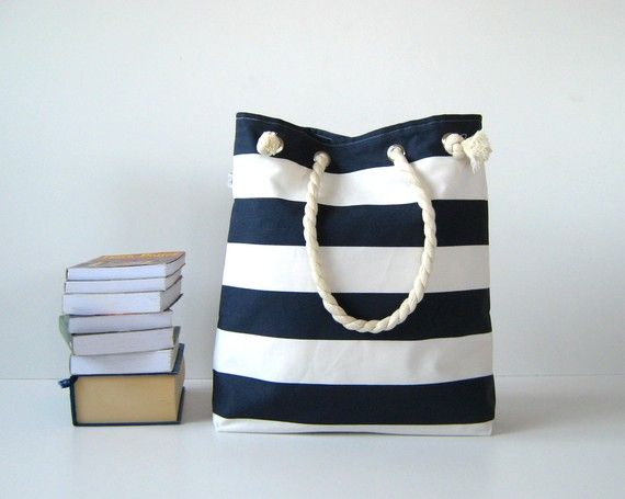 Sailor Tote Bag --for market or beach or gym-- - dark blue and white bold striped, X-Large and cotton rope straps-