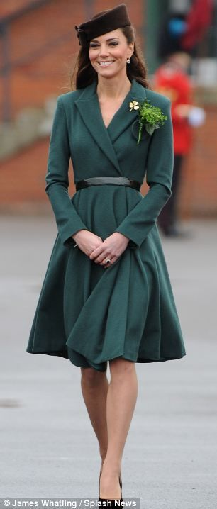 love love love Kate's look to present shamrocks to the Irish Guards on St. Patrick's Day