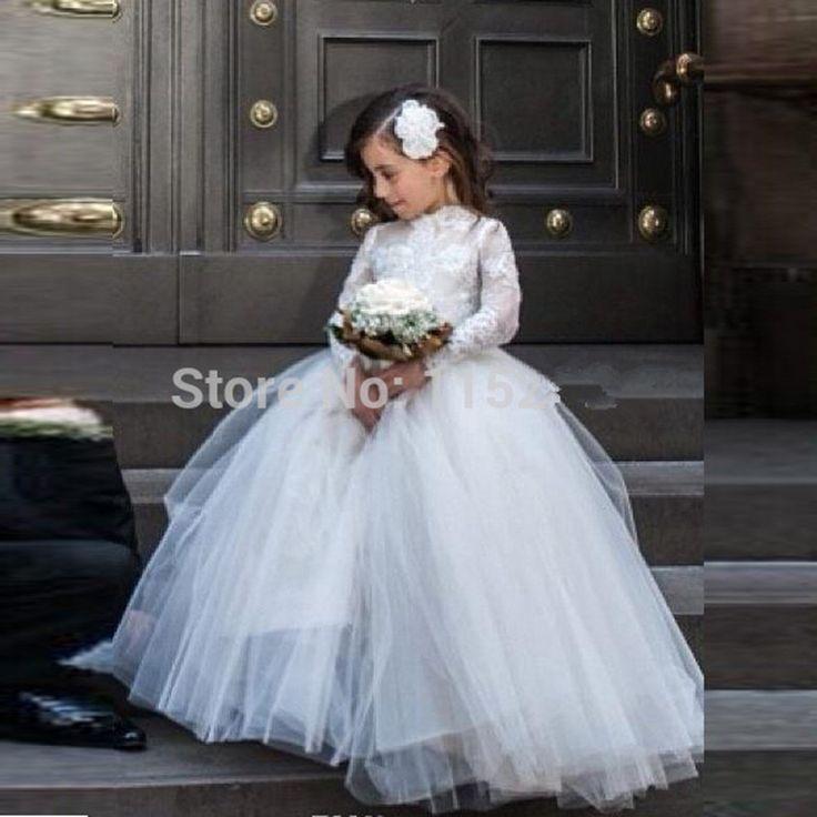 Конкурс бальные платья для девочек бальное платье с длинными рукавами кружева тюль цветочные платья для свадеб формальные дети выпускного вечера купить на AliExpress