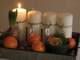 like this advent candle set up. Doing it this year. Maybe with moss instead?
