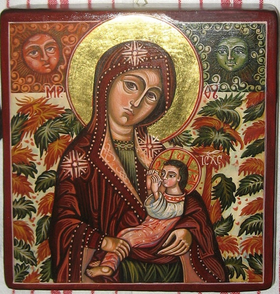 Mother of God breastfeeding The Child Iisus by ByzantineArt, $190.00