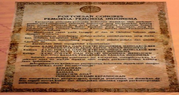 Teks Sumpah Pemuda di Naskah Asli 28 Oktober 1928. Sumber : www.sisidunia.com/2014/10/28/teks-sumpah-pemuda-di-naskah-asli-28-oktober-1928/24962