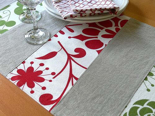 Christmas table runner idea. could also use a mixture of christmas craft fabrics patterned and plain.
