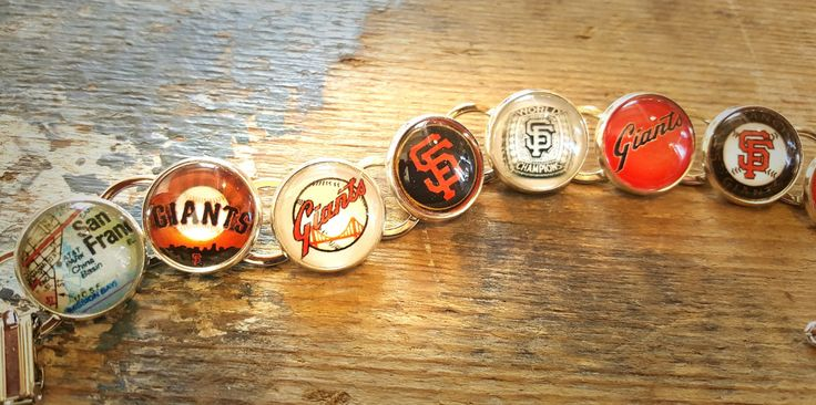 San Francisco Giants Handmade Link Charm Bracelet Silver Plated SF Giants World Series Ring by finderskeepers75 on Etsy
