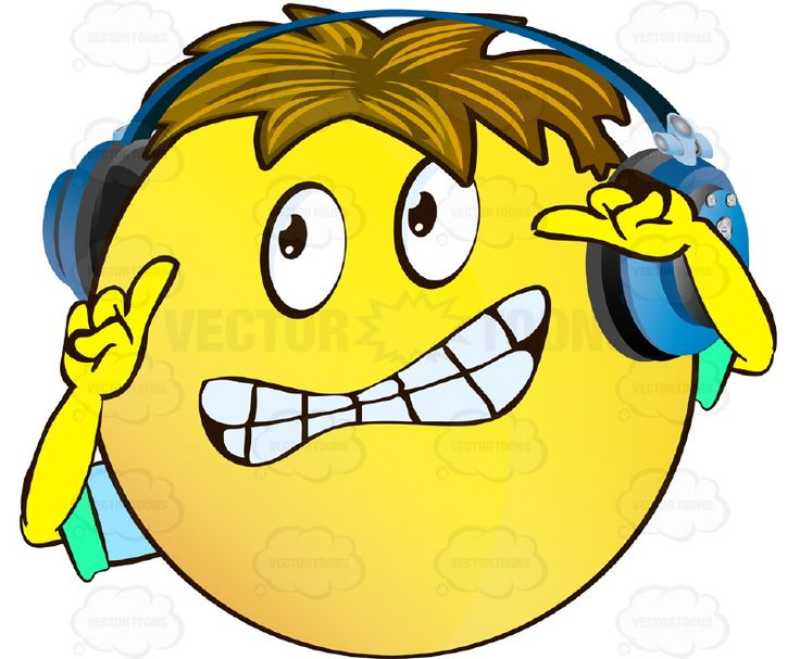 Stressed Looking Yellow Smiley Face Emoticon With Arms, Brown Hair and Headphones Gritting Teeth Arms Raised, Index Fingers Up #afraid #anxious #arms #computer #emotion #expression #eyes #face #fear #feeling #hands #icon #jittery #jumpy #mood #nervous #panicked #PDF #scared #smiley #startled #terrified #terror #vectorgraphics #vectors #vectortoons #vectortoons.com
