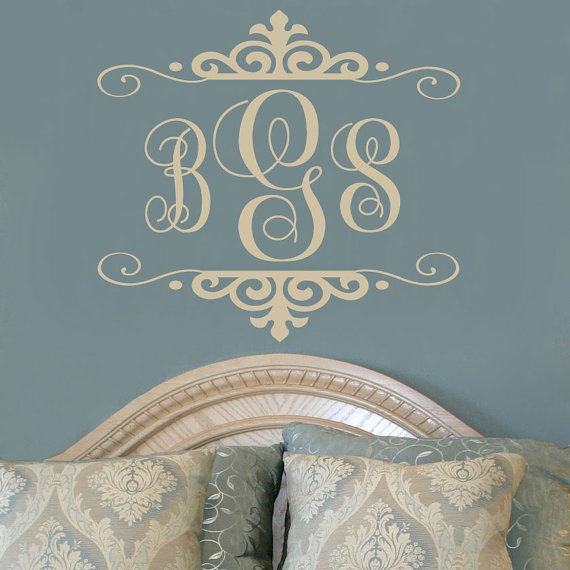 Best Family Name Monogram Wall Decals Images On Pinterest - Monogram vinyl wall decals for boys