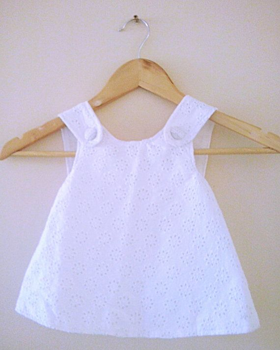 Girl's pinafore dress 6  12months and beyond white  by LOLAsHome, $35.00