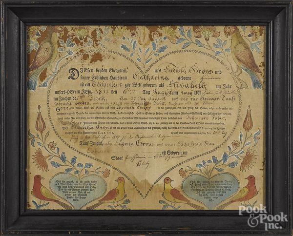 Lancaster County, штат Пенсильвания печатных и ручной раскраски свидетельство о рождении Fraktur для Элизабет Гросс, б. 1811,