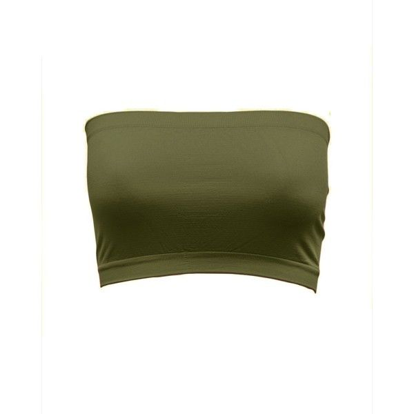 Olive Seamless Bandeau Strapless Tube Top at Amazon Women's Clothing... ($6.32) ❤ liked on Polyvore featuring tops, shirts, crop top, green, underwear, olive crop top, green crop top, tube top and strapless tops