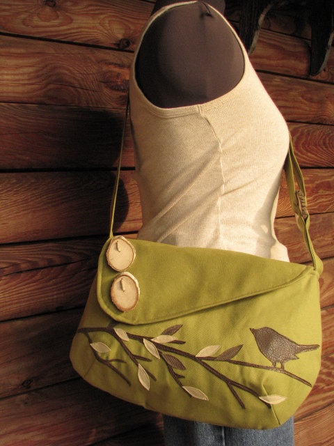 SALE SINGING BIRD on a branch shoulder bag /purse /messenger/  tote /school bag/ Olive Green /10% off when buying 2 of any bags. $65.00, via Etsy.