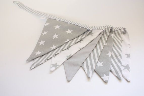 This grey&white flag bunting banner is double-sided with finished edges.  The banner could be a great decoration in your kids room.    This bunting banner
