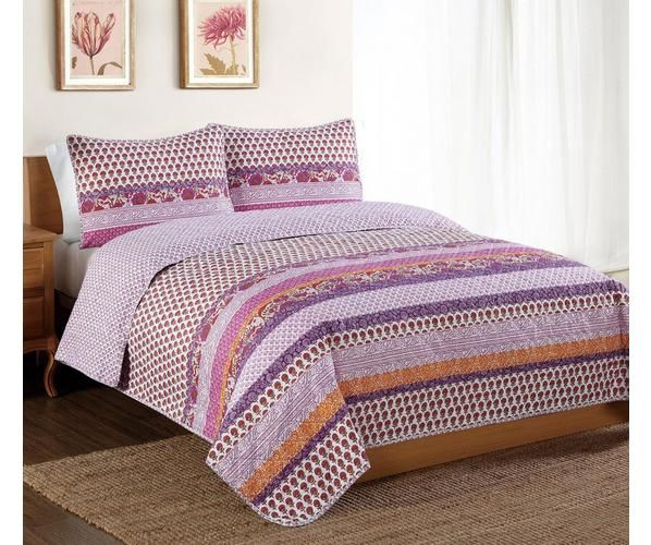 Fun horizontal stripe pattern with spicy colors. This all order machine stitch pattern is a great coordinate to that bring and fun room.