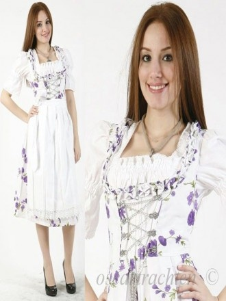3pcs. Dirndl sea of flowers with white purple blouse and Schuerze Model: E3252