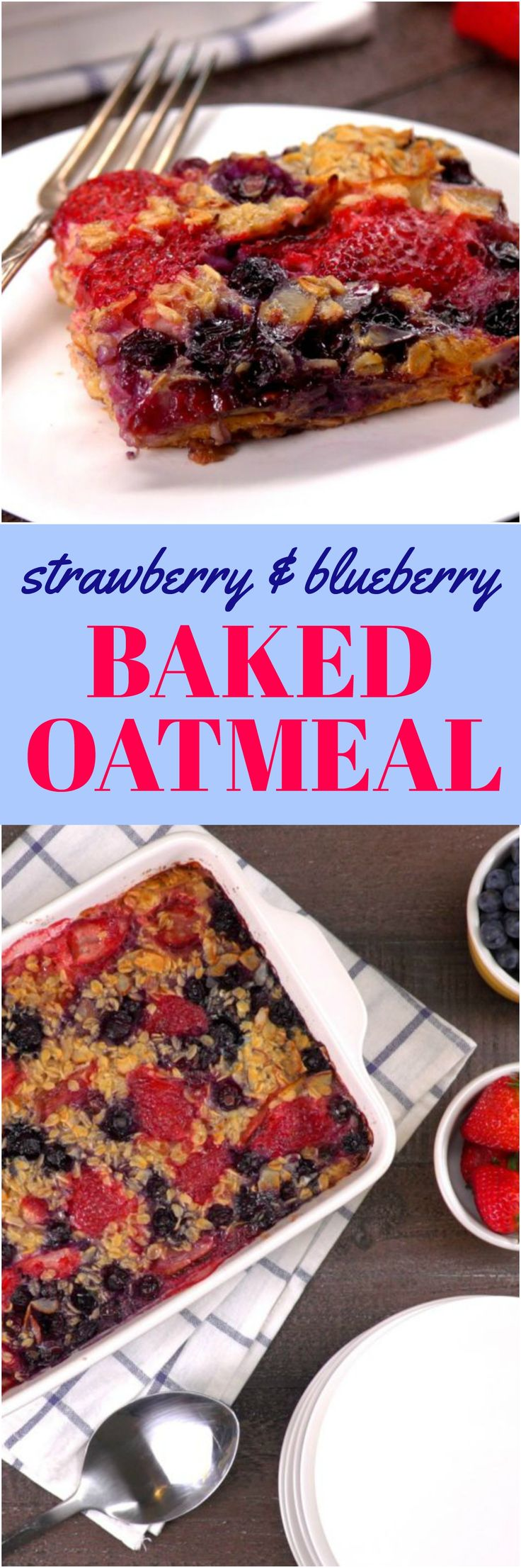 This easy breakfast bake is warmly spiced with brown sugar and cinnamon and filled with wholesome rolled oats, toasty almonds, and juicy berries. Not a morning person? Do this as a make-ahead breakfast and all you have to do is re-heat it in the A.M.
