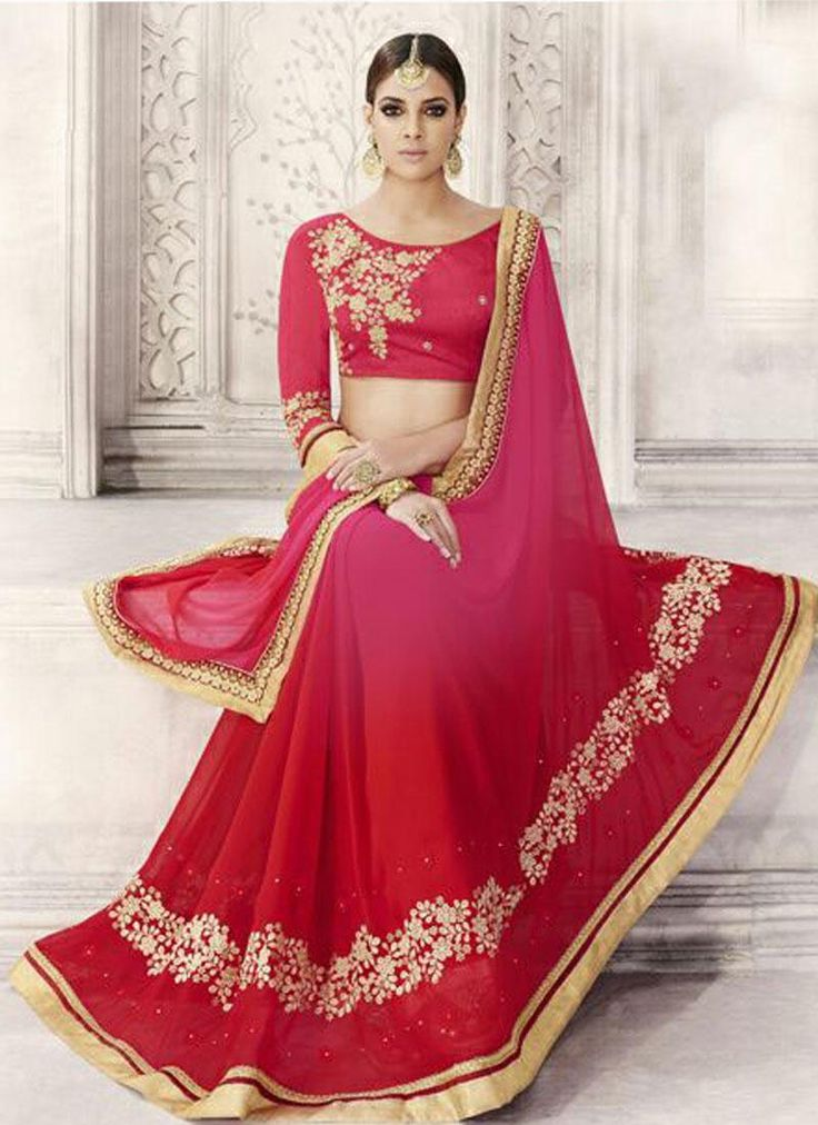 #Red and #pink #saree for festival season 2016 - 2017. Contact us: +91 9824678889 Email id: sales@manjaree.in