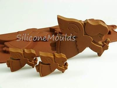 4+1 christmas angels #chocolate silicone #bakeware #mould mold candy xmas tin,  View more on the LINK: http://www.zeppy.io/product/gb/2/181134030837/