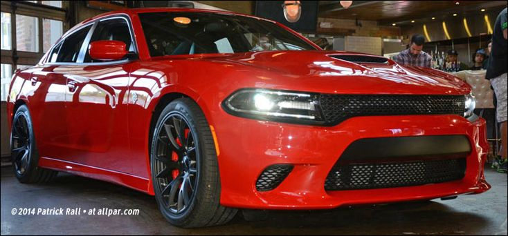 The Dodge Charger SRT Hellcat has a 707 horsepower Hemi engine with 650 lb-ft of torque, eight-speed automatic, and Dodge Performance Pages so you can see how fast it goes, turns, and stops.