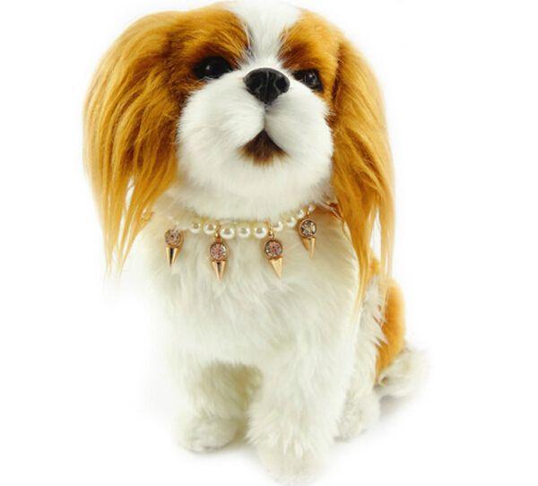 2014 новый! Мода панк животное ногтей алмазный наконечник ожерелье щенок собака кошка жемчужина ошейники pet products, S, M 10 шт./лот