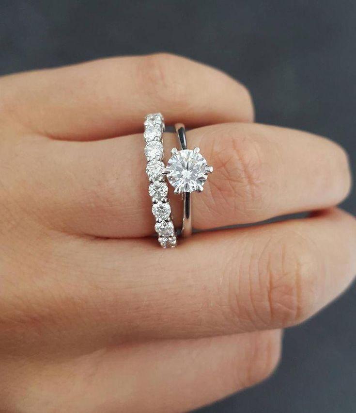 1 50ct White Moissanite Wedding Band Engagement Ring Solid 14k White