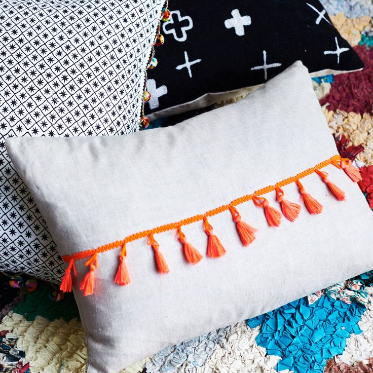 Issy Tassle Cushion   Sage and Clare