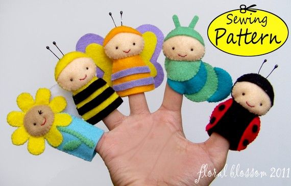 insect finger puppets...love their little faces