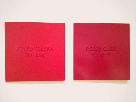"Alighiero Boetti, #GamePlan #MOMA ""ROSSO GILERA 60 1232/ ROSSO GUZZI 60 1305,"" 1967 Photo by Kyle Chayka — © 2012 Estate of Alighiero Boetti / Artists Rights Society (ARS), New York / SIAE, Rome"