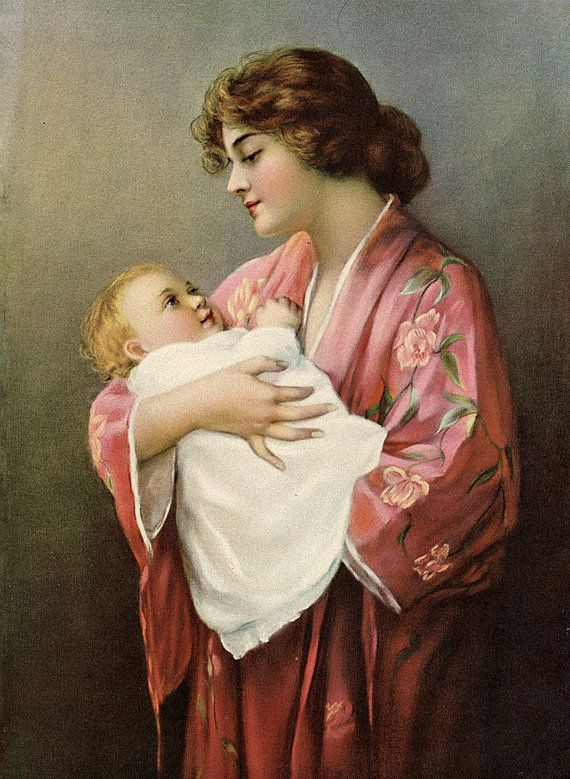 Victorian Mother and Child Art Restored Art Print by annswhimsey,