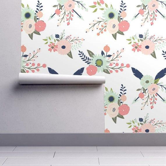 Removable Water-Activated Wallpaper Shabby Chic Roses Floral Watercolor Flowers