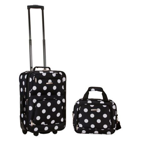 Rockland Luggage Rio 2 Piece Carry On Luggage Set, Multiple Colors, Black