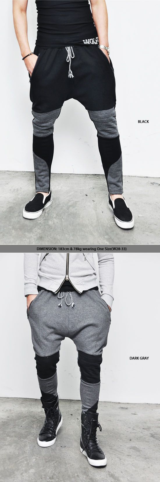 Bottoms :: Sweatpants :: Low Crotch Seaming Biker Baggy-Sweatpants 37 - Mens Fashion Clothing For An Attractive Guy Look