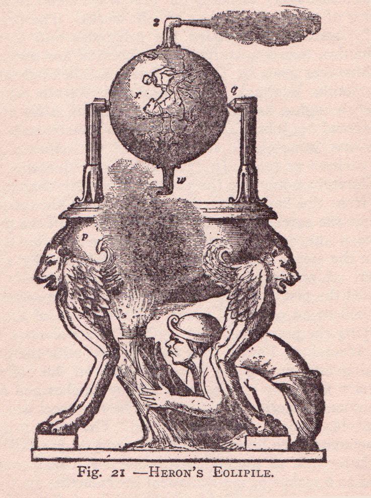 Héron d'Alexandrie a conçu de nombreuses machines hydrauliques. Il est à l'origine de l'éolipyle (porte d'Éole), machine pneumatique constituée d'une sphère fixée sur un axe et équipée de deux tubes coudés sortant de manière opposée faisant tourner la sphère.