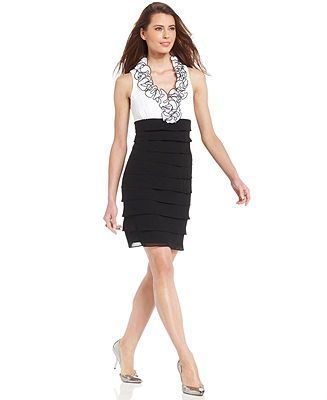 $72 T8 SL Fashions Sleeveless Colorblock Ruffle-Collar Dress - Dresses - Women - Macy's