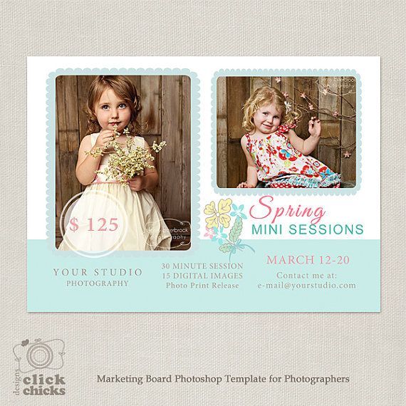 Spring Mini Session Template  Marketing by ClickChicksDesigns, $8.00