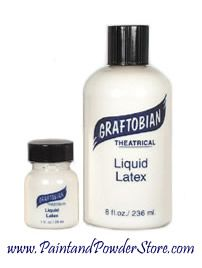 Graftobian Liquid Latex - This Clear Liquid Latex formula is white when wet but dries clear and transparent with excellent results. This is the highest quality liquid latex for skin use available on the market, and multi-functional in it's many uses.