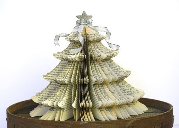 O Christmas tree! This tree is made from an old History book. Its topped with a silver glitter covered star and silver cascading bows. The page edges