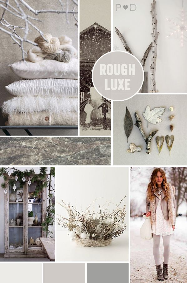 mood board UK wedding fashion lifestyle christmas white pale rustic luxe cream ivory grey greige winter cabin lodge nature snow rough luxe