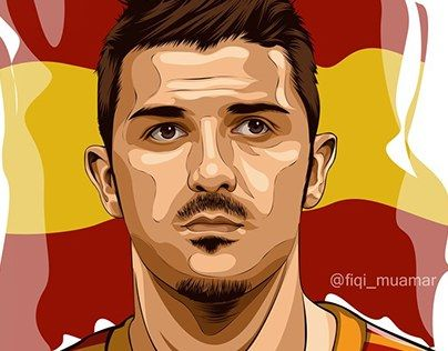 """fan art david villa vector vexel cartoon version"" http://be.net/gallery/38530359/fan-art-david-villa-cartoon-version"