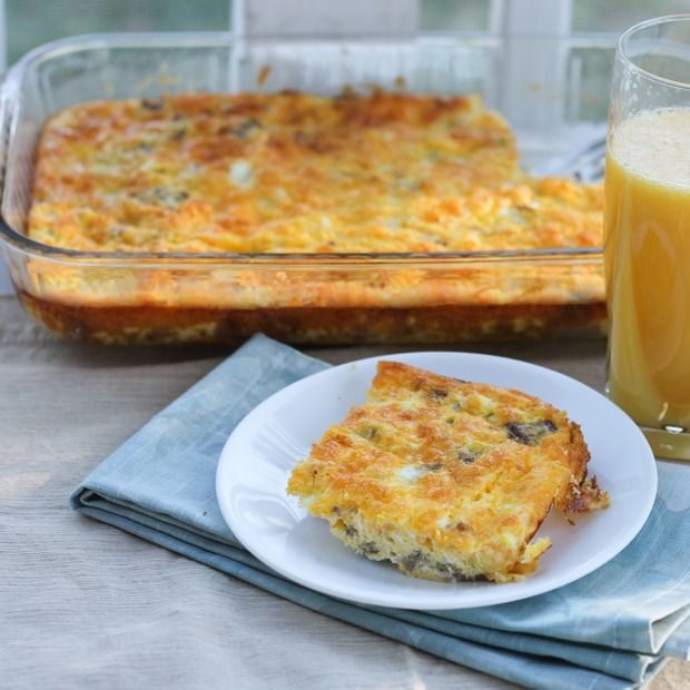 """""""Lightened Up"""" Breakfast Casserole    Nutrition Facts  Serving Size 156 g  Amount Per Serving  Calories 235Calories from Fat 137  % Daily Value*  Total Fat 15.3g23%  Saturated Fat 6.6g33%  Trans Fat 0.0g  Cholesterol 287mg96%  Sodium 603mg25%  Total Carbohydrates 2.2g1%  Sugars 1.4g  Protein 24.0g"""