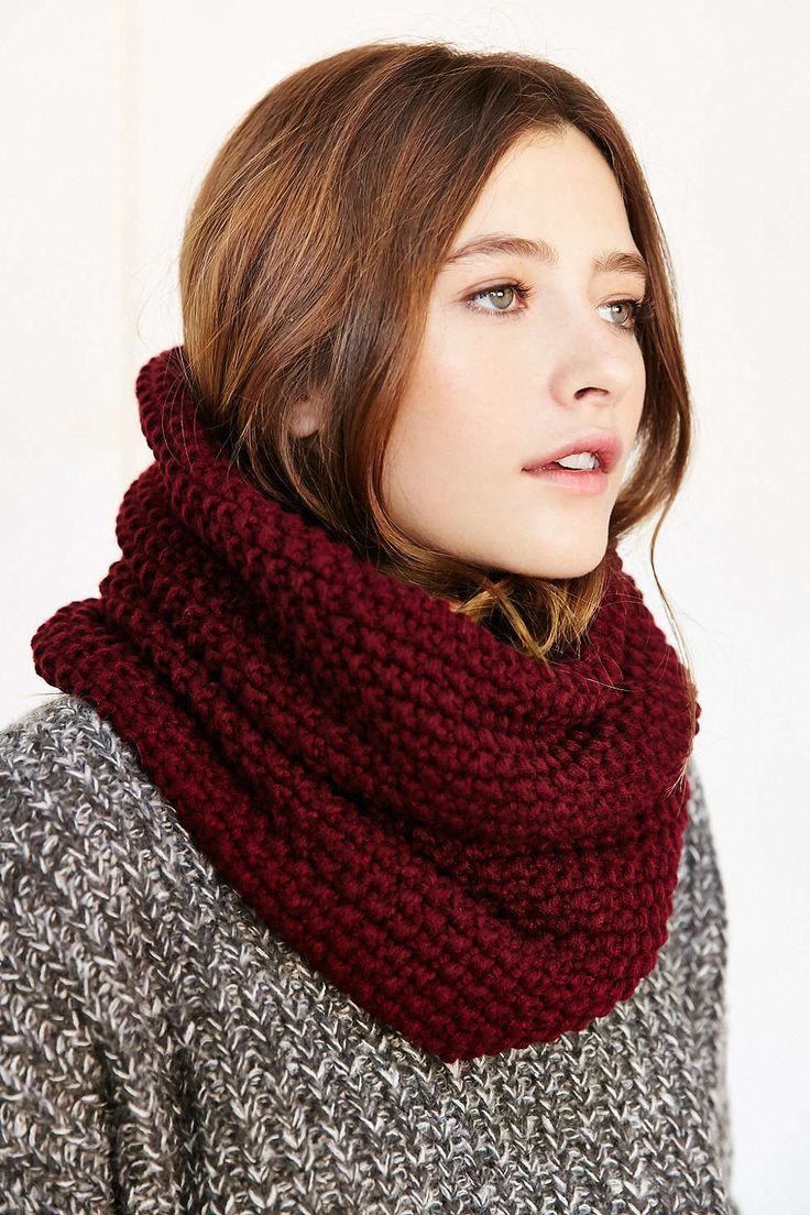 """Seed Stitch Funnel Scarf by Urban outfitters $34 I could make something similar. Super soft seed stitch scarf in a fitted funnel silhouette for easy slipping on or off. A must-have chilly weather essential! - Acrylic Size - Height: 13"""" - Width: 19"""""""