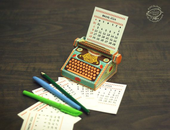 2016 & 2015 DIY Printable Paper Desk Calendar by SkyGoodies