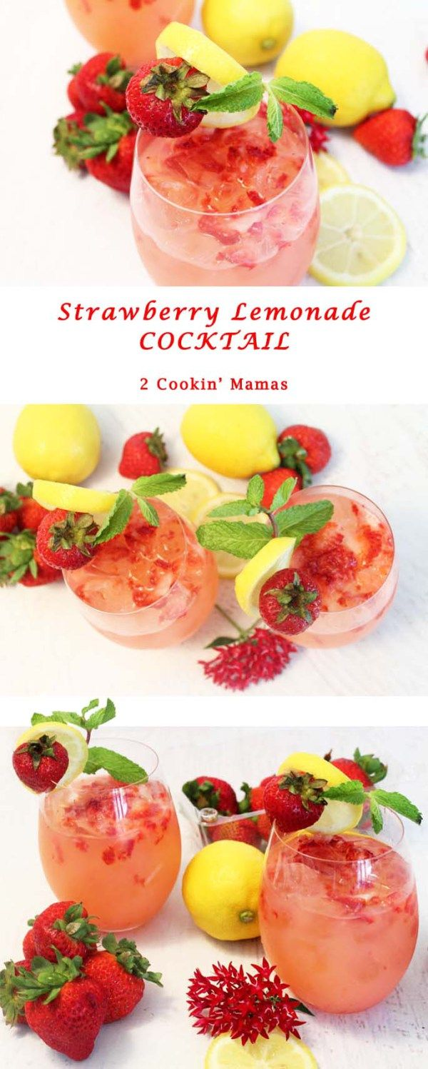 Strawberry Lemonade Cocktail   2 Cookin Mamas Refreshing summer cocktail with sweet fresh strawberries, tangy lemonade & vodka. #cocktail #recipe #drink