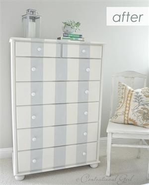 A Gray Striped Dresser