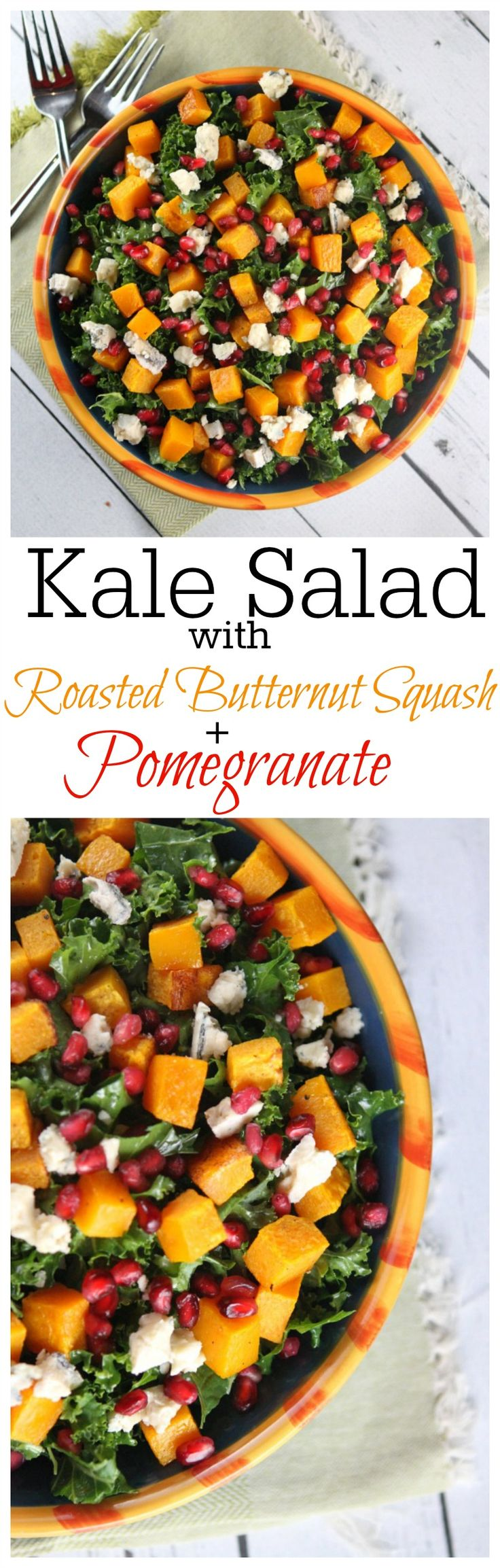 Pretty holiday salad recipe idea: Kale Salad with Roasted Butternut Squash and Pomegranate seeds tossed in a Honey-Cider Vinaigrette