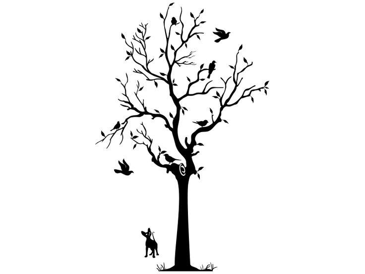 Der lebendige Wandtattoo-Baum mit Laub, Vögeln und Katze