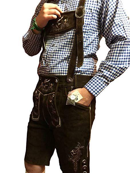 7bac35c5d3eb42 ZUBEINS Trachtenlederhose Herren Kurz trachten lederhose trachtenmode  günstig prima Qualität Dunkelbraun 46-64 (50