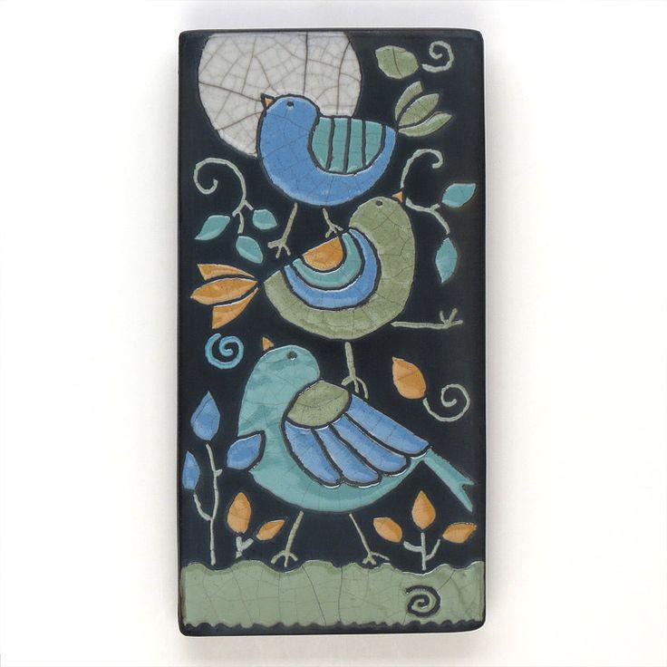 Birds,Ceramic tile,Whimsical, handmade, wall art, home decor 4x8 raku fired art tile. $68.00, via Etsy.