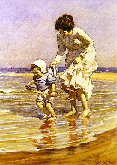 Moms haven't changed.  We want them to explore from a safe distance!  Beautiful painting! William Kay Blacklock (1872-1922) British Painter ~ Blog of an Art Admirer