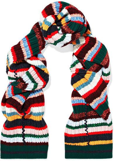 Burberry Striped Ribbed Knit Scarf Red Accessories Burberry